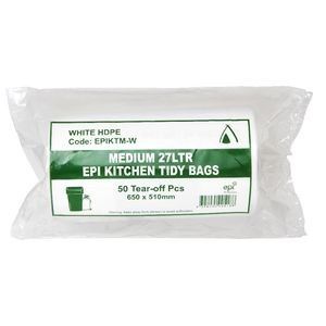 BIN LINERS WHITE 27 LITRE ROLL 50  (price excludes gst)