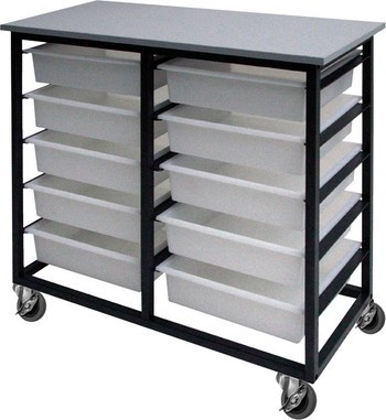 10 Tote Box Metal Frame Mobile Trolley Black 992W x 420D x 886H mm  (Price excludes GST)
