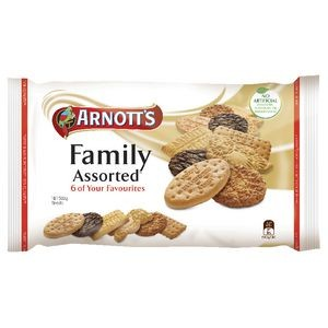 ARNOTTS FAMILY ASSORTED BISCUITS 500g  (price excludes gst)