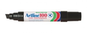 ARTLINE 100 MARKER CHISEL NIB 12mm BLACK Box 6  (price excludes gst)