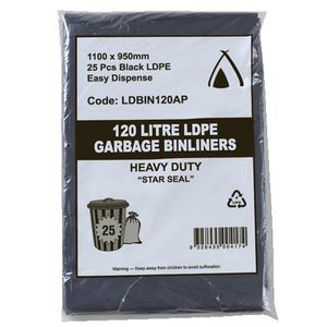 BIN LINERS BLACK 120 LITRE PKT 25  (price excludes gst)