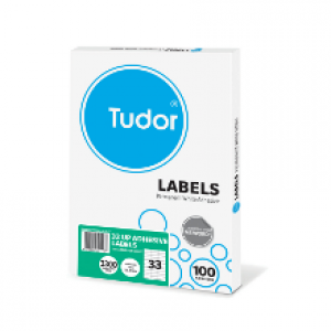 TUDOR ADHESIVE LABELS A4 33 UP Box 100  (price excludes gst)