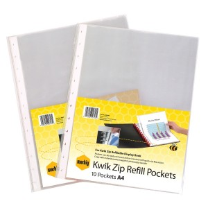 KWIK-ZIP REFILL POCKETS PKT 10 (price excludes gst)