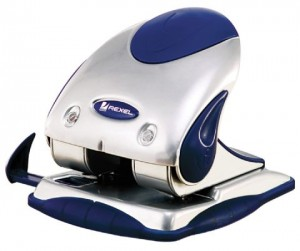 2 HOLE PUNCH REXEL PREMIUM (25 SHT) SILVER/BLUE #2100744  (price excludes gst)