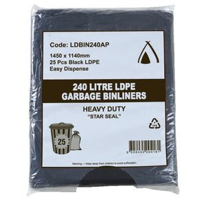 BIN LINERS BLACK 240 LITRE PKT 25  (price excludes gst)