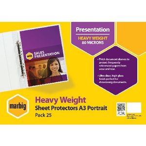 SHEET PROTECTOR A3 PORTRAIT MARBIG (BOX 100) #25103 (price excludes gst)