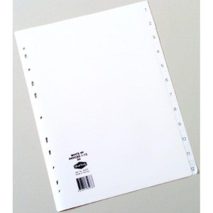 PVC DIVIDER A4 1-12 WHITE #35031 (price excludes GST)
