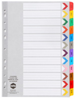 DIVIDER A4 FINANCIAL YEAR MYLAR COLOURED #35039 (price excludes GST)