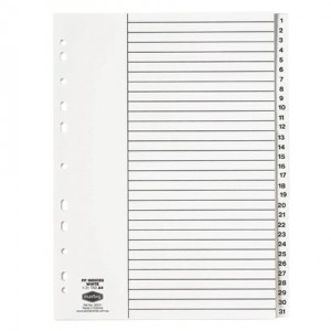 PVC DIVIDER A4 1-31 WHITE #35041 (price excludes GST)
