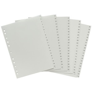 PVC DIVIDER A4 1-100 GREY #35170 (price excludes GST)