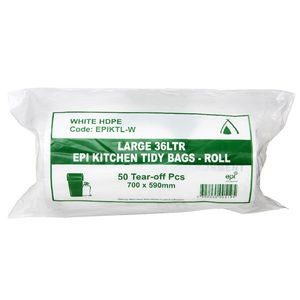 BIN LINERS WHITE 36 LITRE (ROLL 50)  (price excludes gst)