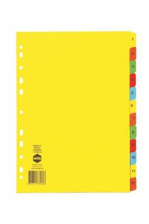DIVIDER A4 1-12 TAB BRIGHT BOARD #37160 (price excludes GST)
