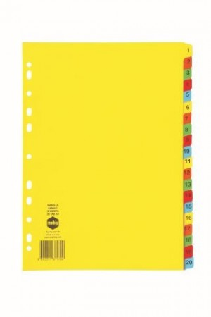 DIVIDER A4 1-20 TAB BRIGHT BOARD #37170 (price excludes GST)