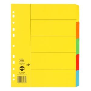 DIVIDER A4 5 TAB EXTRA WIDE MULI COLOURED #37180 (price excludes GST)