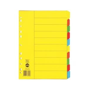DIVIDER A4 10 TAB 10 COLOR BRIGHT BOARD #37200 (price excludes GST)