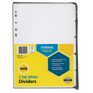 DIVIDER A4 5 TAB WHITE BOARD (BULK PACK OF 20 SETS) #37320