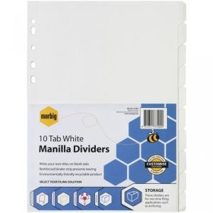 DIVIDER A4 10 TAB WHITE BOARD #37400 (price excludes GST)