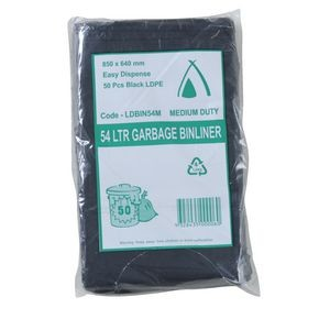 BIN LINERS BLACK 54 LITRE PKT 50  (price excludes gst)