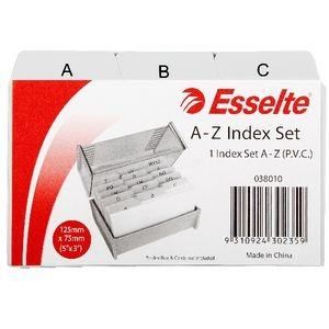 SYSTEM CARD INDEX A-Z 125mm x 75mm PVC (price excludes GST)