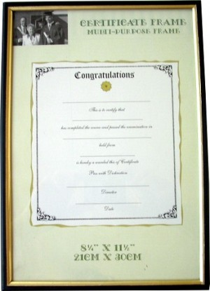 CERTIFICATE DOCUMENT FRAME A4 BLACK/GOLD TRIM (price excludes GST)