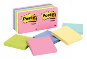 POST-IT NOTE PAD #654-AST PASTEL (PKT 12) (price excludes gst)