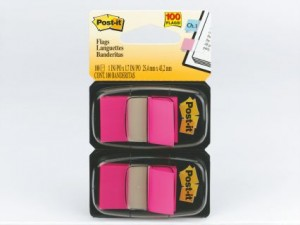 POST-IT TAPE FLAG TWIN PACK #680-BP2 BRIGHT PINK (price excludes gst)