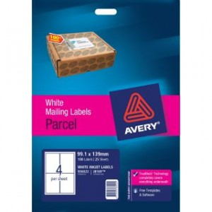 AVERY INKJET LABELS J8169 (4's) PKT 25  #936022  (price excludes gst)