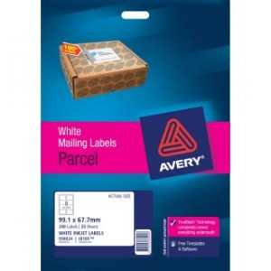 AVERY INKJET LABELS J8165 (8's) PKT 25   #936024  (price excludes gst)