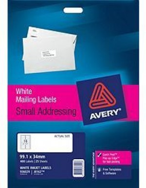 AVERY INKJET LABELS J8162 (16's) PKT 25  #936029  (price excludes gst)