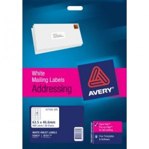 AVERY INKJET LABELS J8161 (18's) PKT 25  #936031  (price excludes gst)