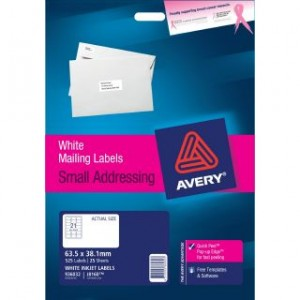 AVERY INKJET LABELS J8160 (21's) PKT 25  #936032  (price excludes gst)
