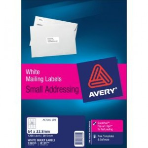 AVERY INKJET LABELS J8159 (24's) PKT 50  #936055  (price excludes gst)