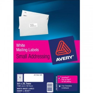 AVERY INKJET LABELS J8158 (30's) PKT 50  #936056  (price excludes gst)