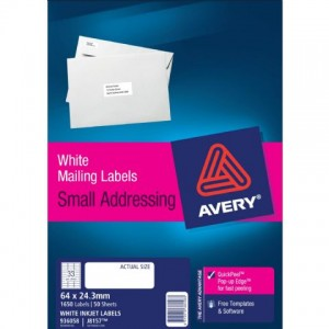 AVERY INKJET LABELS J8157 (33's) PKT 50  #936058  (price excludes gst)