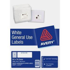 AVERY GENERAL USE LABELS L-7157GU (33's) BOX 100  #938200