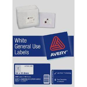 AVERY GENERAL USE LABELS L-7159GU (24's) BOX 100  #938201