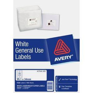 AVERY GENERAL USE LABELS L-7162GU (16's) BOX 100  #938202