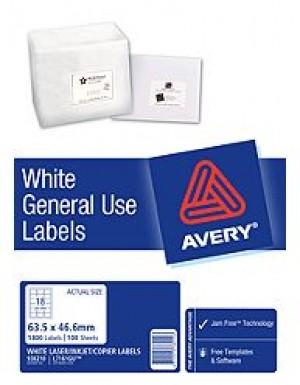 AVERY GENERAL USE LABELS L-7161GU (18's) BOX 100  #938210