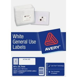 AVERY GENERAL USE LABELS L-7158GU (30's) BOX 100  #938211
