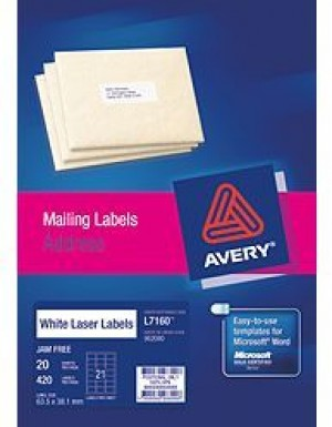 AVERY LASER LABELS L-7160 (21's) PKT 20  #952000  (price excludes gst)