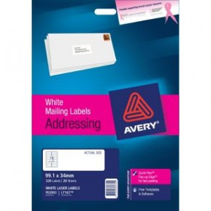 AVERY LASER LABELS L-7162 (16's) PKT 20  #952002  (price excludes gst)