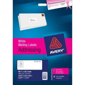 AVERY LASER LABELS L-7163 (14's) PKT 20  #952003  (price excludes gst)