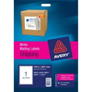 AVERY LASER LABELS L-7167 (1's) PKT 20  #952007  (price excludes gst)