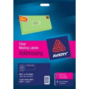 AVERY CLEAR LASER LABELS L7551 65's PKT 25  #959022  (price excludes gst)