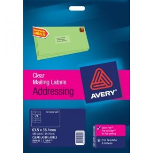 AVERY CLEAR LASER LABELS L7560 21's PKT 25  #959055  (price excludes gst)