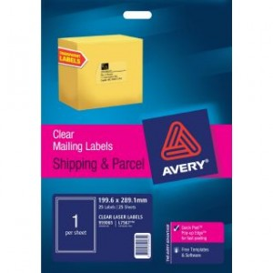 AVERY CLEAR LASER LABELS L7567 1's PKT 25  #959065  (price excludes gst)