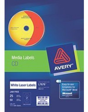 AVERY CD LASER LABELS L-7676 (PKT 25)  #960101  (price excludes gst)