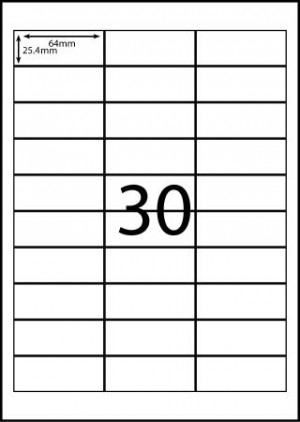 REDIFORM COPIER/LASER LABELS RA4/30C (65x25.4)  (price excludes gst)