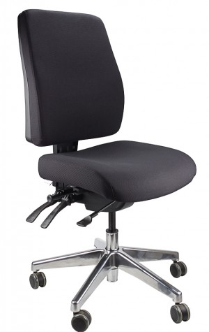 ERGOFORM TYPIST CHAIR WITH POLISHED BASE BLACK  (price excludes gst)