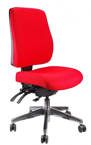 ERGOFORM TYPIST CHAIR WITH POLISHED BASE RED  (price excludes gst)